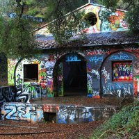 Graffiti-covered house in Murphy Ranch,Malibu