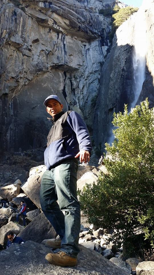 In front of the Lower Yosemite Falls