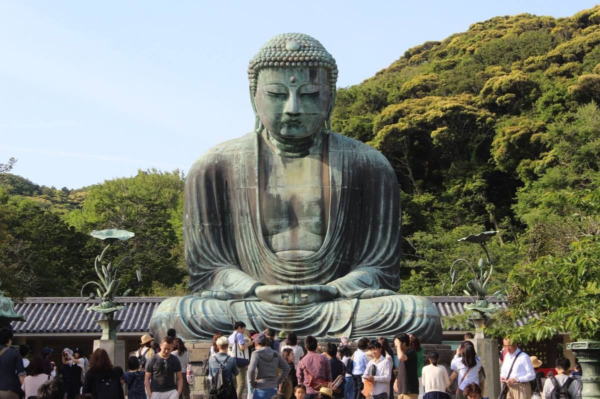 Jizo Statues at Hase-Dera and The Great Buddha of Kamakura in Kanagawa, Japan